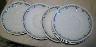 6-Hard to Find -Cup Saucers Classic Buffalo China Pottery Sty 108A & 108B Green