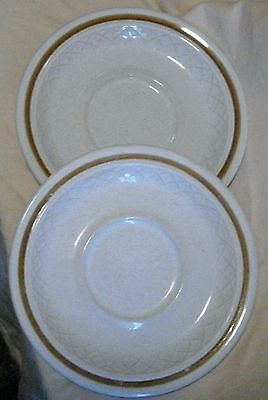 Lot of 2 Cup Saucers Stone Ware Made in Japan Golden Brown Ring around Lattice