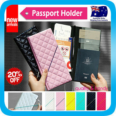 Diamond Travel Wallet Passport Holder Ticket Organizer Case Cover Pouch Bag*H4