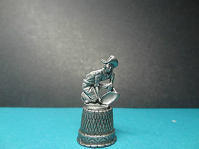 *** Pewter *** Gold Rush Miner Panning for Gold Thimble *** Made in U.S.A. ***