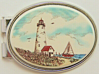 Money Clip Oval Barlow Scrimshaw Carved Painted Art Lighthouse Silver 539226c