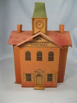 Vintage Middletown Town Hall Cardboard Train Yard Christmas House 1940s AS IS O