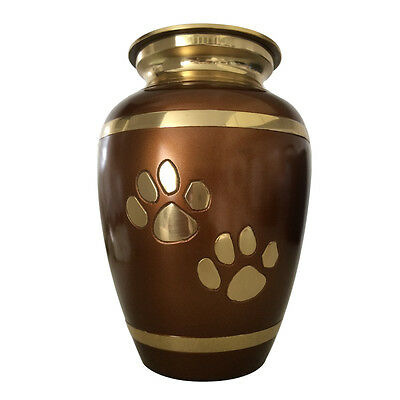 Pet Memorial Urn for Ashes, Brown Brass Pet Urns for Dog, Shepherd dog, Bulldog