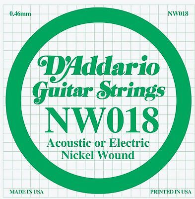 D'Addario Nickel Wound Single Guitar Strings 5 X 018.P/No:-NW018