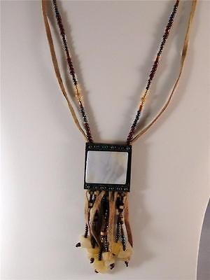 Vtg. Glass Leather Stone Pendant Necklace Native American Southwestern Cowgirl