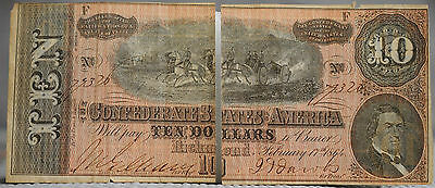 10 Ten Dollars Confederate note February 17th 1864 Richmond see quality photos
