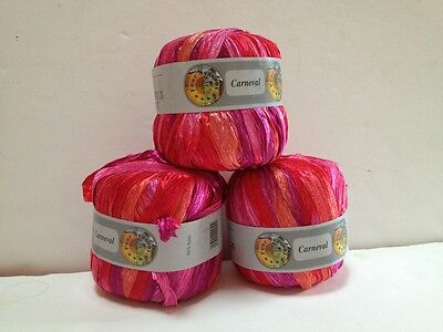 Lot Of 3 Skeins Ribbon Red Carneval Four Seasons Yarn Red #608