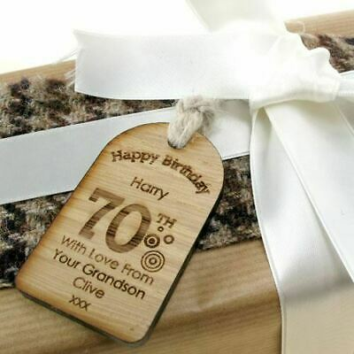 70TH BIRTHDAY PERSONALISED Gift Tag Unusual Engraved Gifts For Him Or Her