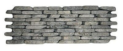 "Stone Grey Standing Mosaic Tile 4"" x 12"" - Stacked River Rock Stone Tile"