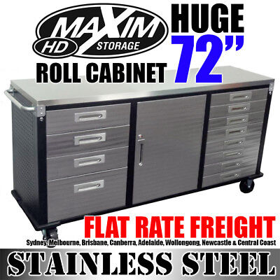 """MAXIM 72"""" Stainless Steel Roll Cabinet Toolbox Workbench Chest Tool Box Storage"""