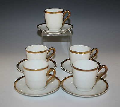 ANTIQUE  BAVARIA SET OF 5 PORCELAIN DEMITASSE CUPS AND SAUCERS, WHITE/GOLD