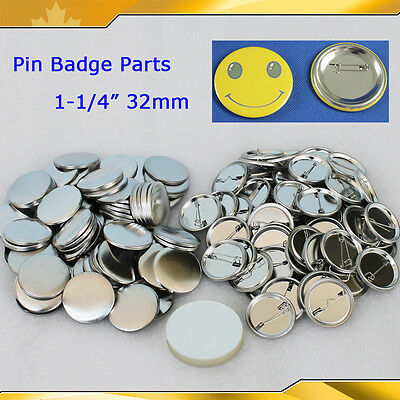 """1-1/4""""32mm 1,000sets All Metal Pin Badge Button Parts Supplies for Maker Machine"""