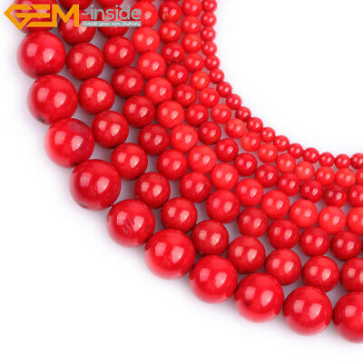 """Red Coral Stone Beads For Jewelry Making 15"""" Dyed  Natural Coral Jewelry Beads"""
