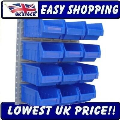 12 Large Blue Plastic Parts Bins Wall Kit Steel Louvre