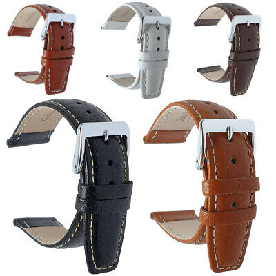 Buffalo Grain Genuine Leather Watch Strap Black Brown Tan White 18mm 20mm 22mm