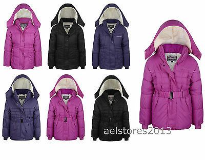 New Girls Coat School Padded Hooded Jacket Age 3 4 6 8 9 10 12 years Waterproof