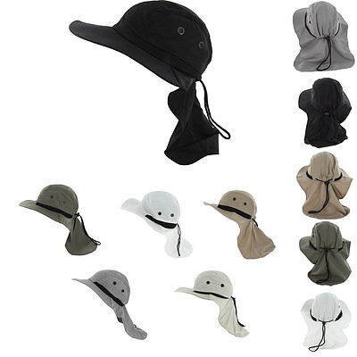 Fishing Boating Hiking Boonie Hunting Snap Hat Brim Ear Neck Cover Sun Flap  Cap 5ae1d76d9761