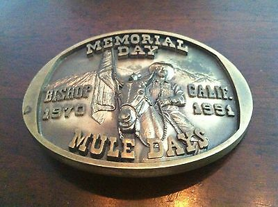 VTG MEMORIAL DAY Belt Buckle MULE DAYS BISHOP CA. Solid bronze LE trophy rodeo