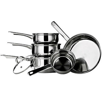5 Piece Stainless Steel Silver Kitchen Saucepan Cooking Set Inductionable + Lids