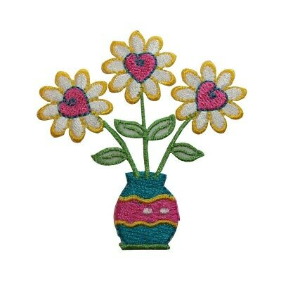 ID 7052 Yellow Heart Daisy Patch Blossom Plant Love Embroidered Iron On Applique
