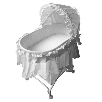 New Quality Infant New Born Baby Rocking Bassinet Cradle Bed Cot Crib Pure White