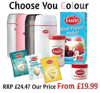 Easiyo Yogurt Maker with Three Sachets and One Lunchtaker CHOOSE YOUR COLOUR