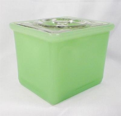 Green Clambroth Refrigerator Dish Jeannette Vintage Clear Lid Box Jar Storage