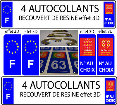 4 stickers plaque immatriculation TUNING DOMING 3D RESINE LANGUEDOC ROUSSILLON