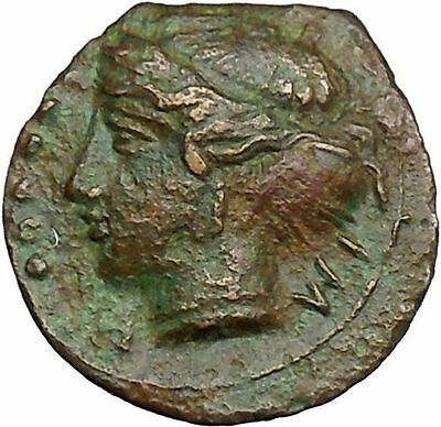 HIMERA Sicily 420BC Ancient Greek Coin Nymph LAUREL WREATH of success  i34158