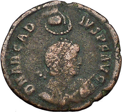 ARCADIUS w standard Hand of God w wreath above 378AD Ancient Roman Coin i34160