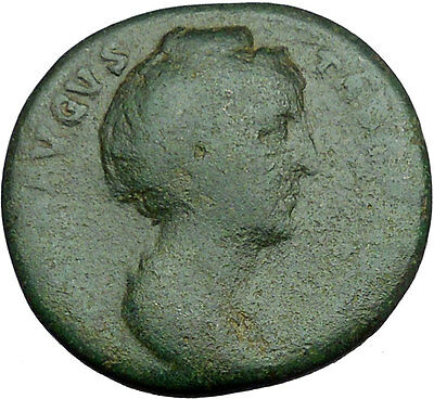 FAUSTINA I Ancient HUGE Roman Coin Pietas Arising after one's death i34189