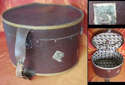 ORIGINAL 1900s BIG BROWN LEATHER LADY HAT BOX