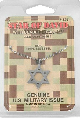 Star Of David With Beaded Chain-24''  Military Issue