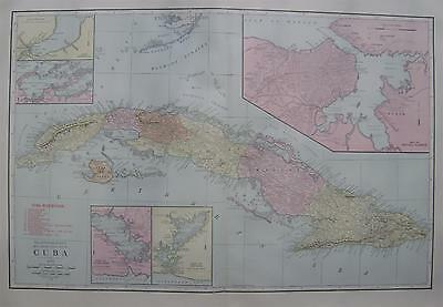 1912 Cuba & Vicinity Large Dated 2-page Commercial  Map* 101 years-old!! Beauty!