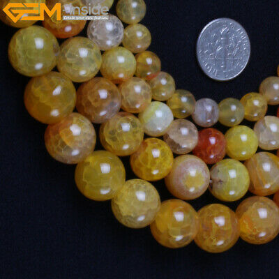 """Round Natural Orange Crackle Agate Beads Stone For Jewelry Making 15""""  Wholesale"""