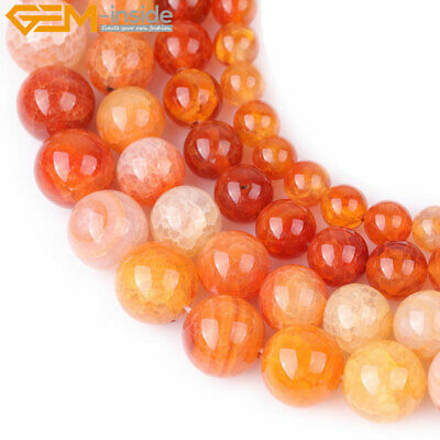 Natural Round Pink Orange Crackle Agate Gemstone Beads For Jewelry Making 15""