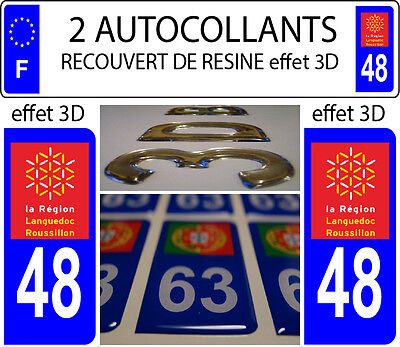 2 stickers plaque immatriculation auto DOMING 3D RESINE LANGUEDOC ROUSSILLON °48