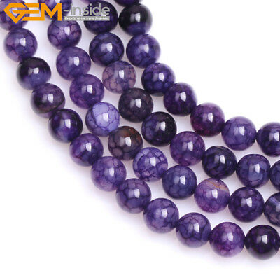 """Round Dyed Purple Crackle Agate Beads Jewelry Making Strand 15"""" Size Pick"""