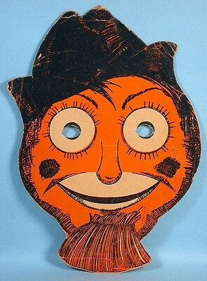 Beistle Halloween Scarecrow Face Mask Early Die-cut Cardboard 1930s-1940s