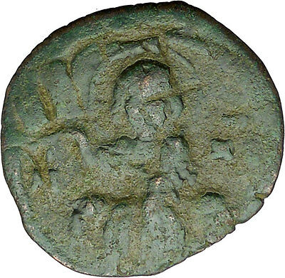 JESUS CHRIST Class F Anonymous Ancient 1059AD Byzantine Follis Coin  i34260