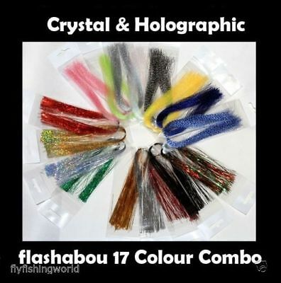 17 Colours CRYSTAL HOLOGRAPHIC FLASHABOU  - krystal, tinsel, flash for fly tying