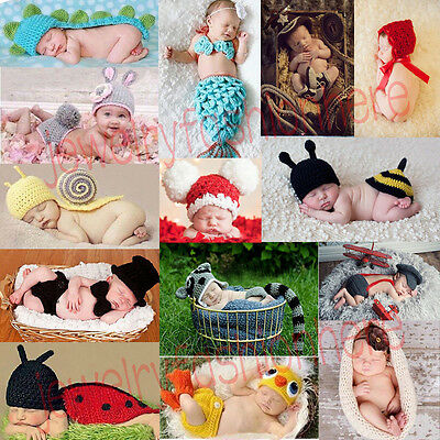Baby Infant Newborn Animal Knit Costume Photography Prop Crochet Hat Outfits HG