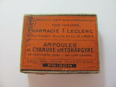 1920s ANTIQUE FRENCH MEDICINE CARDBOARD BOX MERCURY CYANIDE – POISON