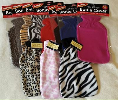 LUXURY/COSY, FLEECE HOT WATER BOTTLE COVER,2 litre,choose Brand/Design,Gift.