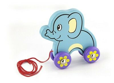 NEW Childrens Wooden Pull Along Elephant - Baby Pull Toy
