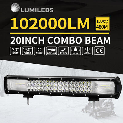 50Inch Cree Curved Led Work Driving Light Bar Spot Flood Offroad 4Wd Truck Suv