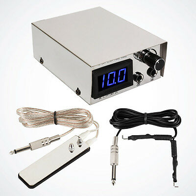 NEW Pro LCD Tattoo Power Supply Digital Equipment w/ Clip Cord Foot Pedal Switch