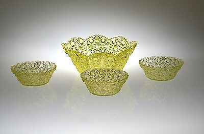 Ca. 1890 FASHION / DAISY & BUTTON by Bryce CANARY Master Bowl & 3 Berry Bowls