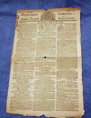 1772 Massachusetts Gazette with Ads for Slave for Sale, Runnaway Slaves & More