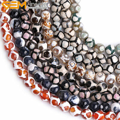 "8mm Faceted Round Fire Agate Stone Soccer Beads For Jewelry Making 15"" Wholesale"